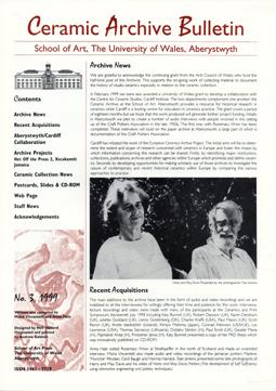 Ceramic Archive Bulletin No 3, 1999