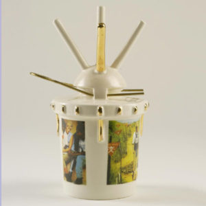 Conrad Atkinson's (USA/GB) ceramic 'landmine' printed with images of Princess Diana