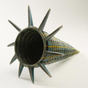 Spiked spiral form, 1988 Raku fired stoneware, 32 cm long