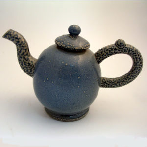 10. Salt-glazed stoneware 'Macaroni' teapot with twisted handle, 1985, H. 14cm