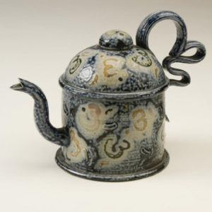 13. Salt Glazed teapot with extruded handle and sprigged decoration, 1990, H. 22cms