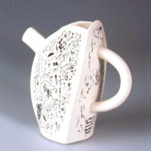 16. 'Ibata, Ryoji & Interpreter Pot', Jug, porcelain, cream coloured with black transfer print, 1991, H.17.5cm
