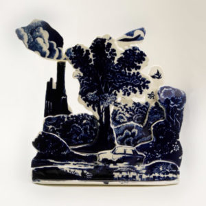 Porcelain slab built with transfer printing, 30cm high