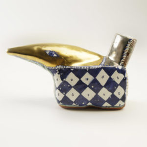 Pouring vessel or creamer, 2001 Tin-glazed earthenware with gold decoration 10 cm high, 19 cm wide