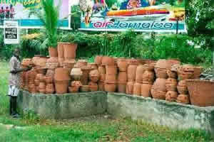 Flower Pots' on sale by the road in Kingston
